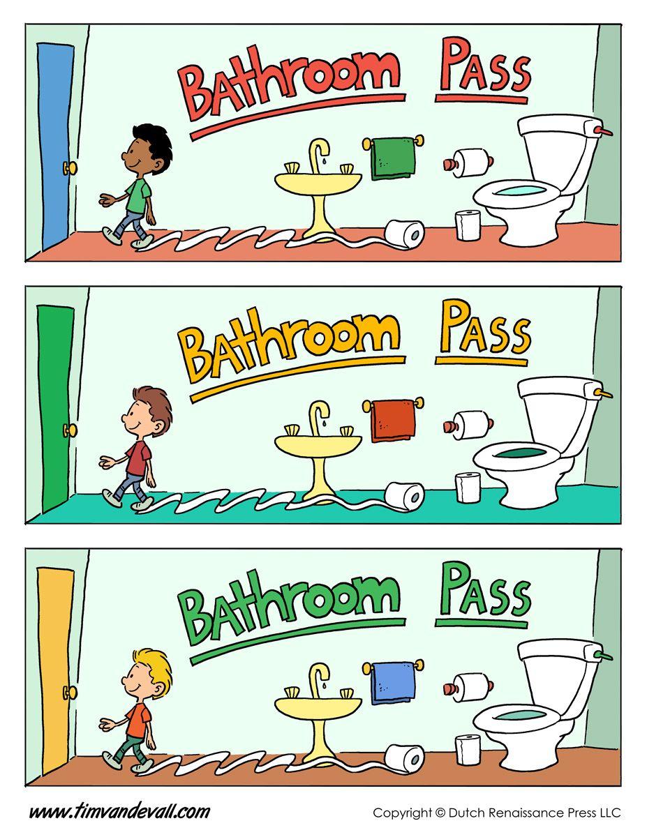 Boys Bathroom Pass Template Jpg 927 1200 Bathroom Pass Phonics Kindergarten Free Classroom Printables