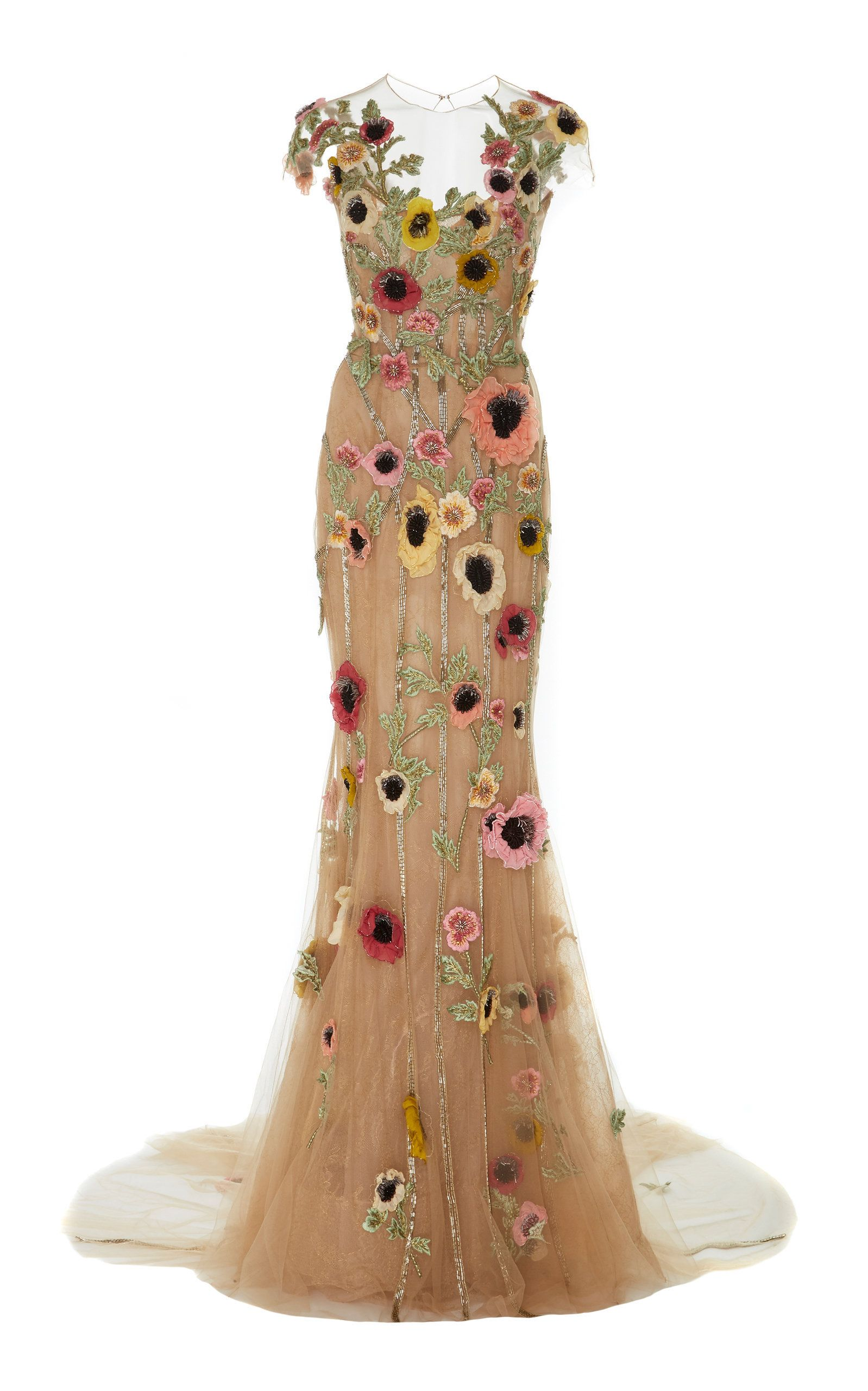Illusion neckline floral embroidered gown by marchesa for preorder