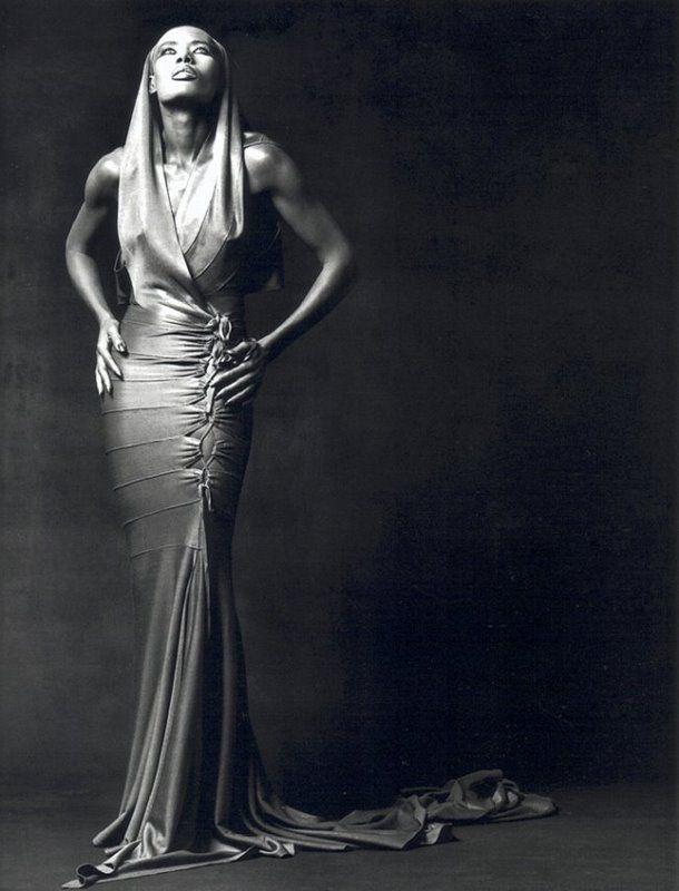 Grace Jones, Los Angeles, 1991  Photographer: Greg Gorman  Dress by Azzedine Alaïa