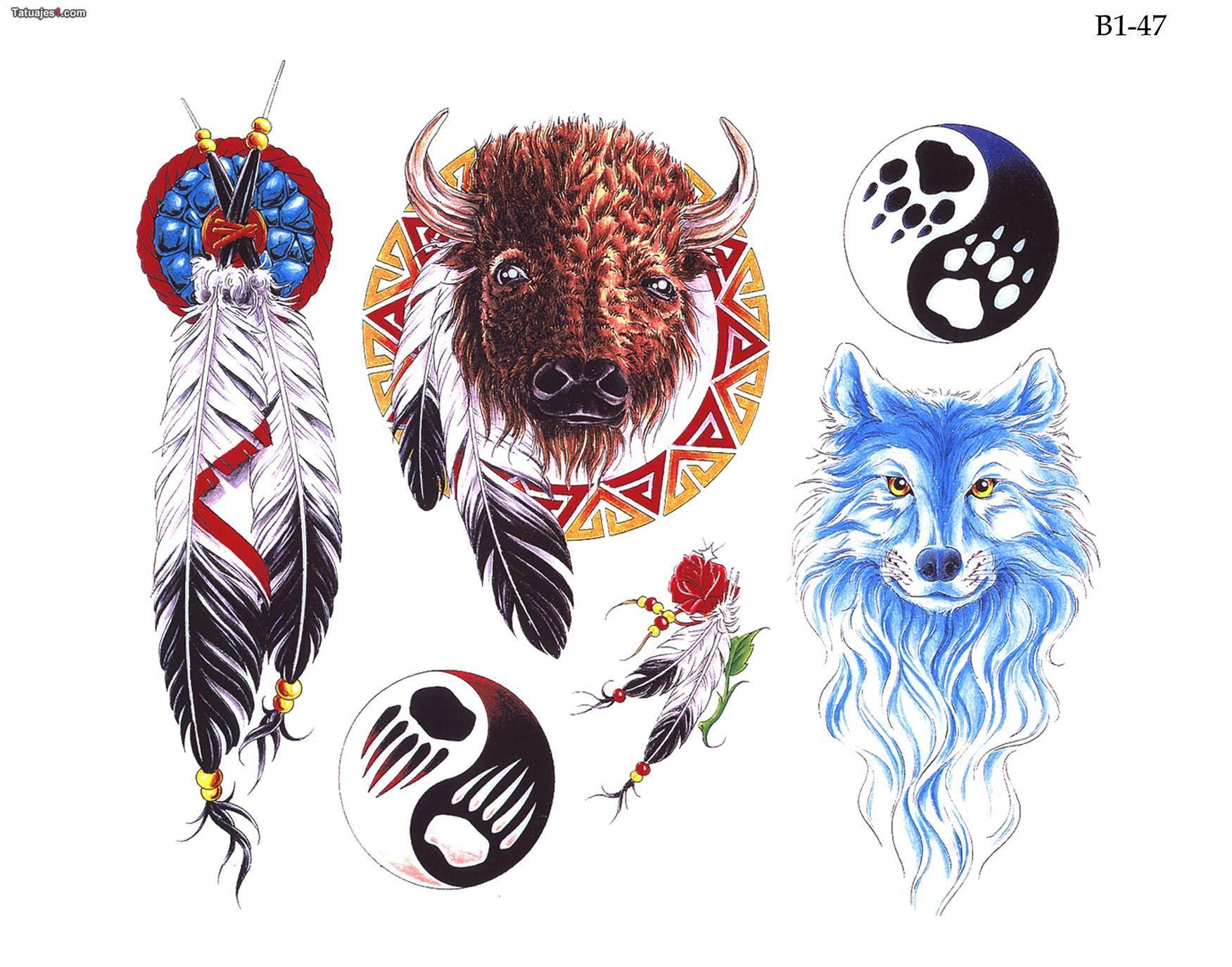 Tatuaje búfalo y plumas indias | Tatuajes | Pinterest | Plumas ...