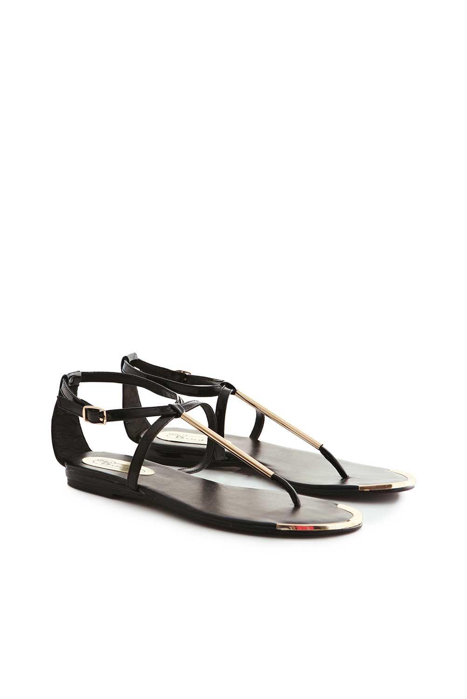 Black sandals gold bar - Conchita Patent Ultra Thin Gold Bar Sandal In Black At Fashion Union