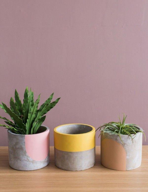 Small Concrete Geometric Plant Pot By Pow Pots Three Colours