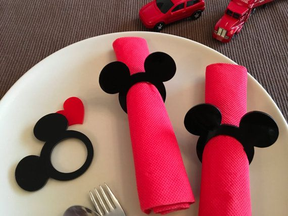 Mickey Serviette Ringe Kinder Stoffservietten Mickey Thema Mickey Mouse Ohren Ring Serviettenringe, die Minnie Maus Kinder Partei begünstigt Disney-Geburtstag-tag #minniemouse