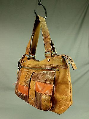 Fossil PEBBLED Leather Handbag Purse Shoulder Tote Bag Patchwork Floral Brown | eBay