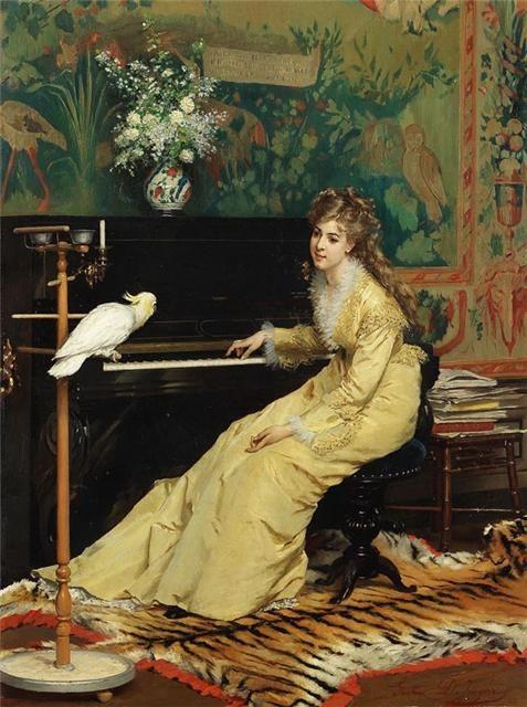 Gustave-Leonard de Jonghe - Woman at the piano with сockatoo