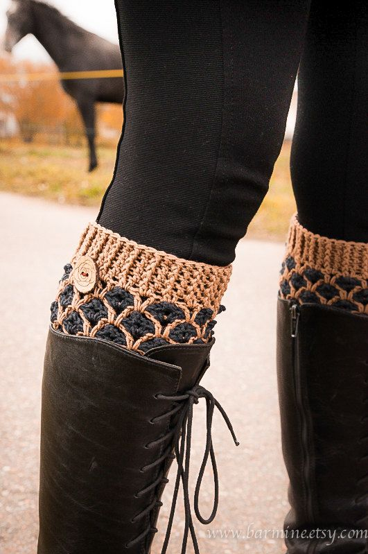 Crochet Boot Cuffs, Wool boot socks, Chunky Knit boot toppers in ...