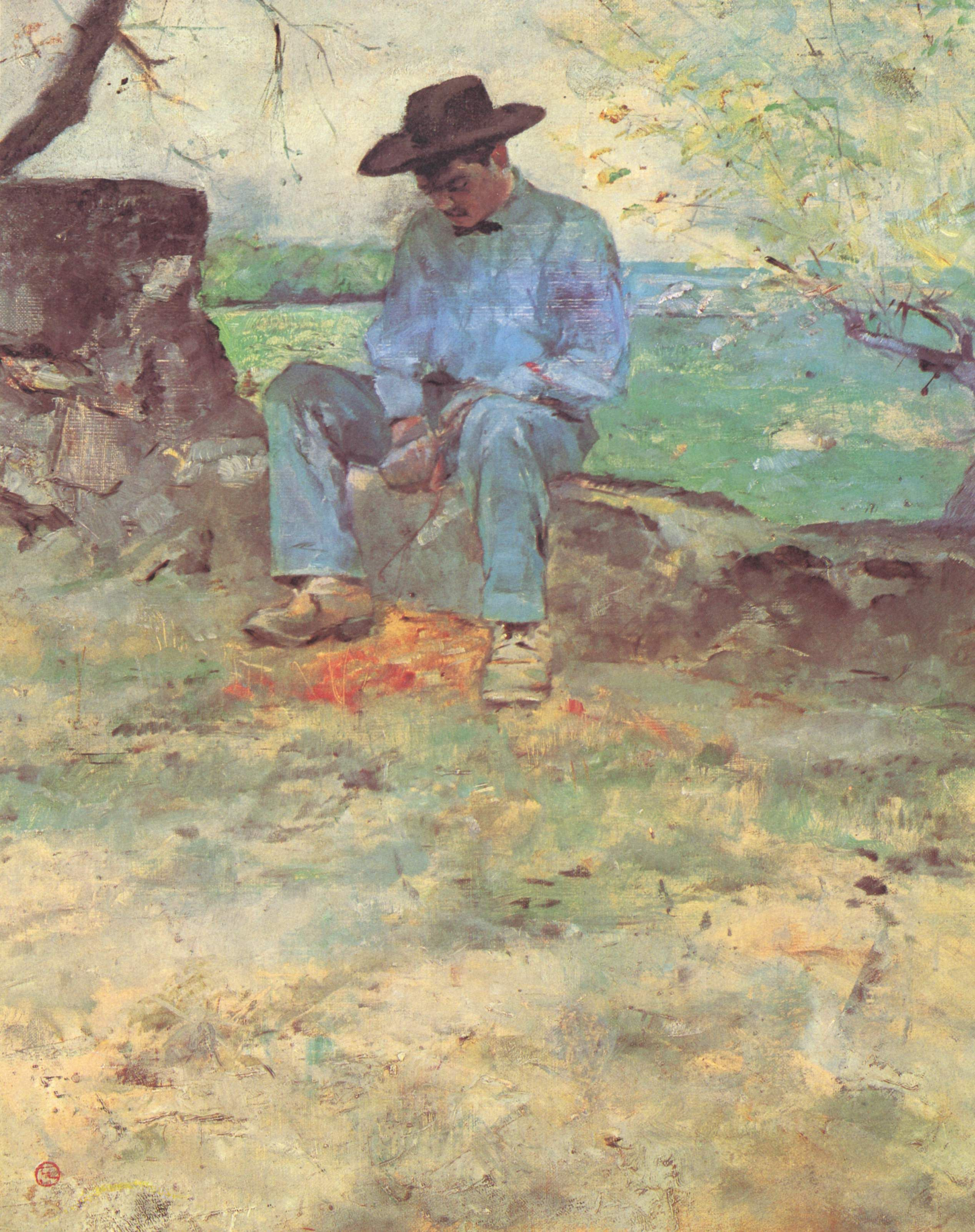 This is Tom Joad freash out of jail in his new clothes and shoes waiting for a ride home.(Henri de Toulouse-Lautrec - The Young Routy Céleyran, 1882, oil on canvas)