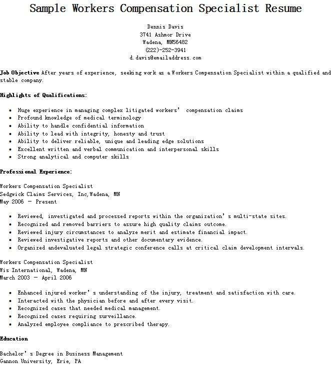 Sample Workers Compensation Specialist Resume resame Resume