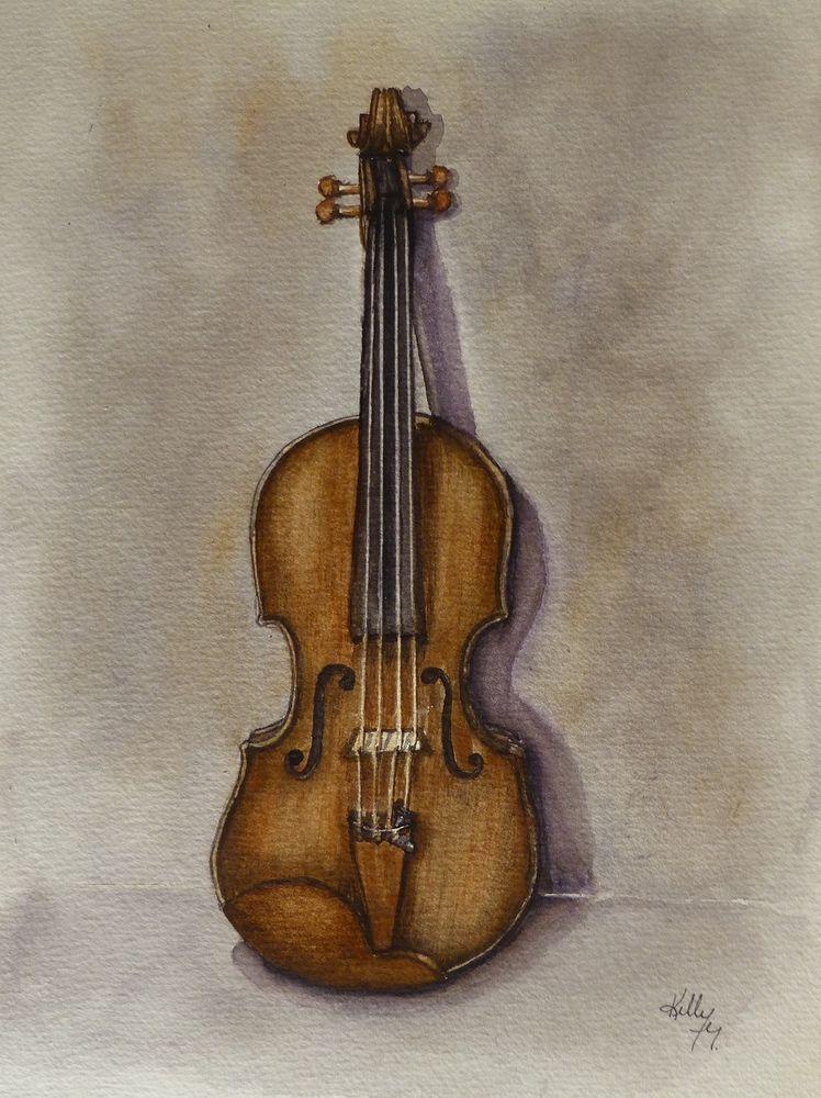 Stradivarious Violin Original Watercolor Painting
