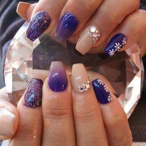 Purple Glitter Nail With Rhinestone