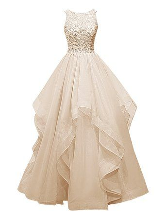 Dresstells® Long Prom Dress Asymmetric Bridesmaid Dress Beaded Organza Gown: Amazon.co.uk: Clothing