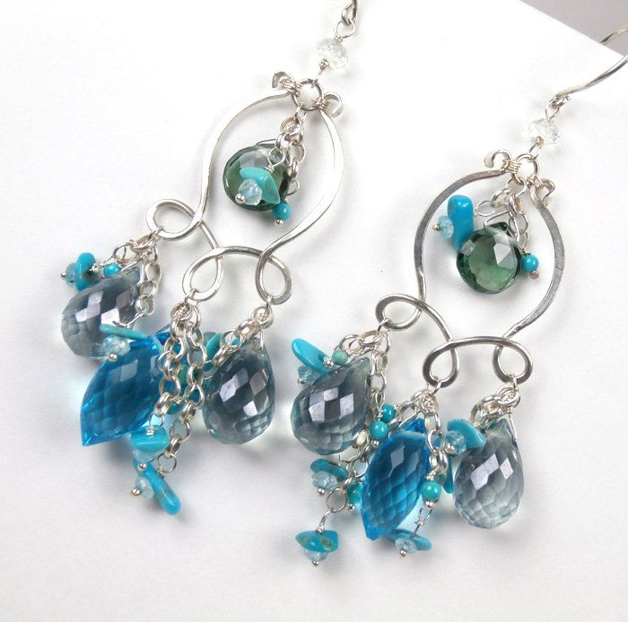 Turquoise Chandelier Earrings Wire Wrapped Sterling Silver Teal Blue ...