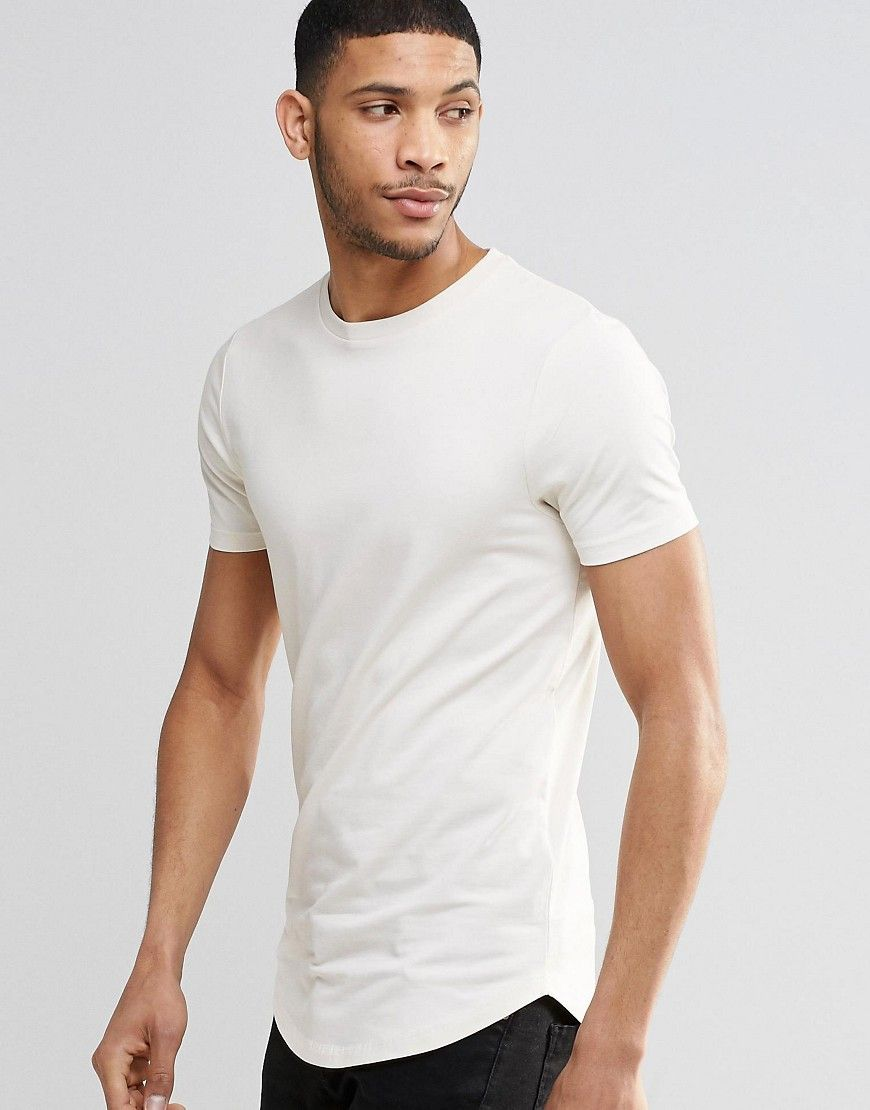 ASOS Longline Muscle T-Shirt With Curved Hem In Stone - Beige
