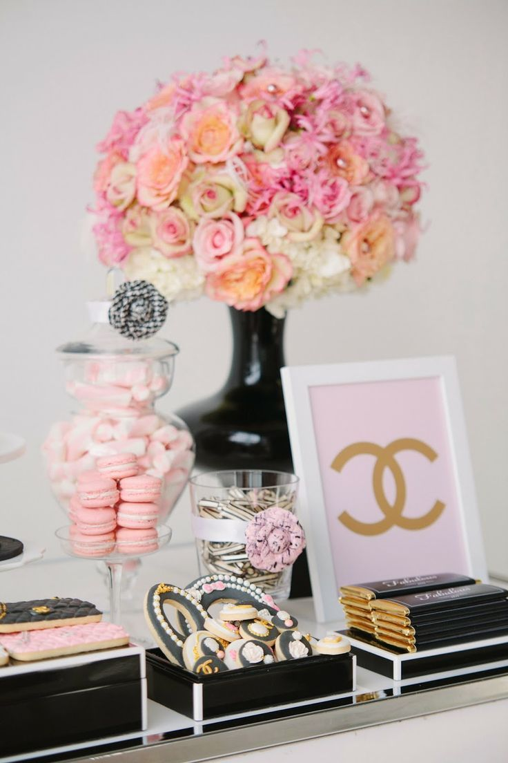 Chanel themed bridal shower candy bar and