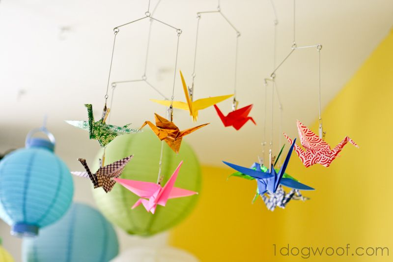 one dog woof origami crane mobile a cq paper crafts diy