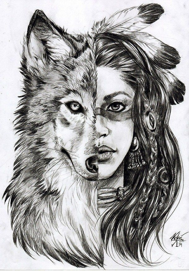 Art Awesome Cute Draw Girl Indian Love Smile Wolf Tattoo