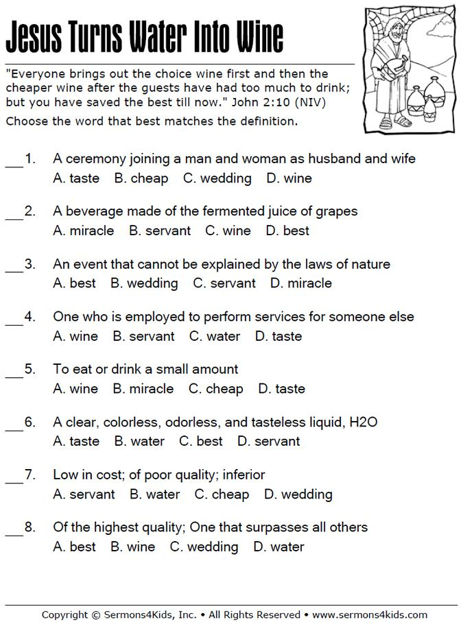 Jesus Turns Water To Wine Multiple Choice Quiz Sunday School