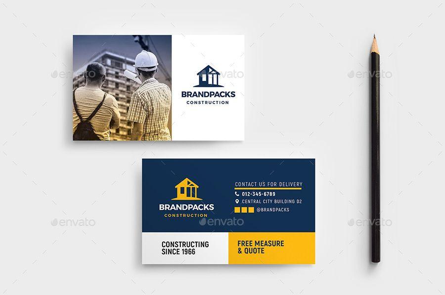 Construction Business Card Template Ai Blue Branding Builde Construction Business Cards Construction Business Cards Templates Printable Business Cards
