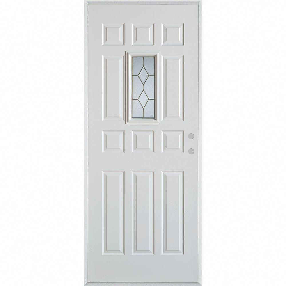 Stanley Doors 36 In X 80 In Geometric Brass Rectangular Lite 12 Panel Painted White Left Hand Inswing Steel P Smart Door Locks Painted Paneling Stanley Doors