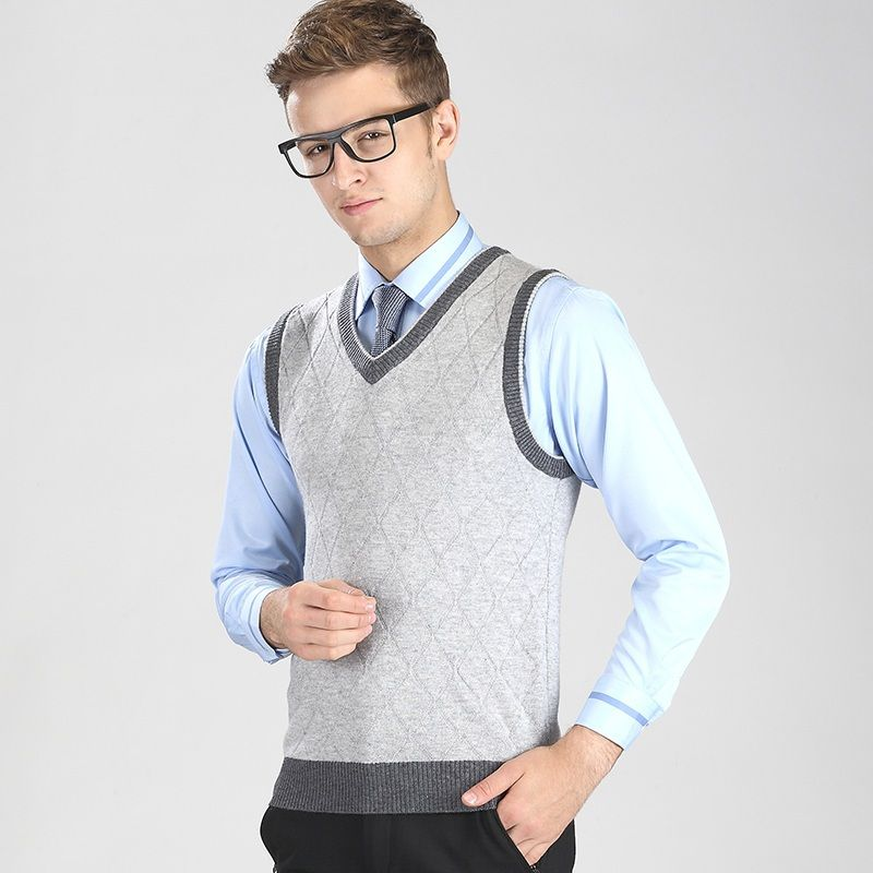 Autumn and winter men casual v-neck plaid sweater vest pullover ...