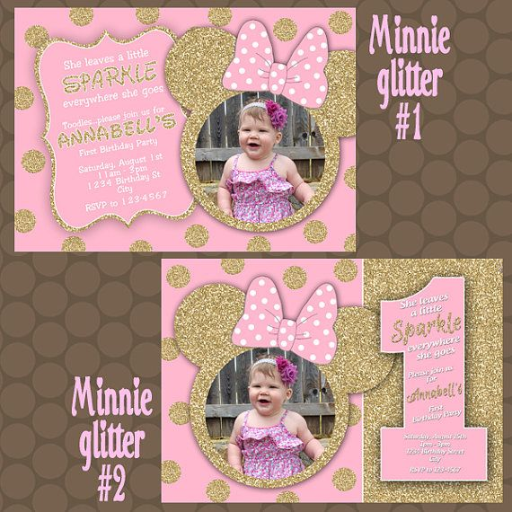 www uprint com templates - minnie mouse pink gold glitter 1st birthday party