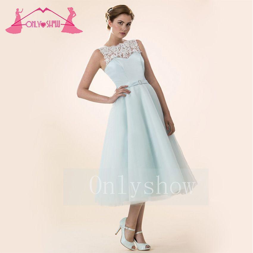 Elegant Formal Women Tea-Length Prom Dresses Ball Gowns Light Blue ...