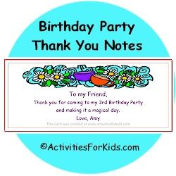 Birthday Party Goodie Bag Thank You Notes for kids | Goodie bags ...