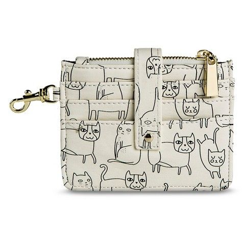 Women's Slim Fit Cat Print Credit Card Holder Wallet - Ivory - Mossimo Supply Co.™