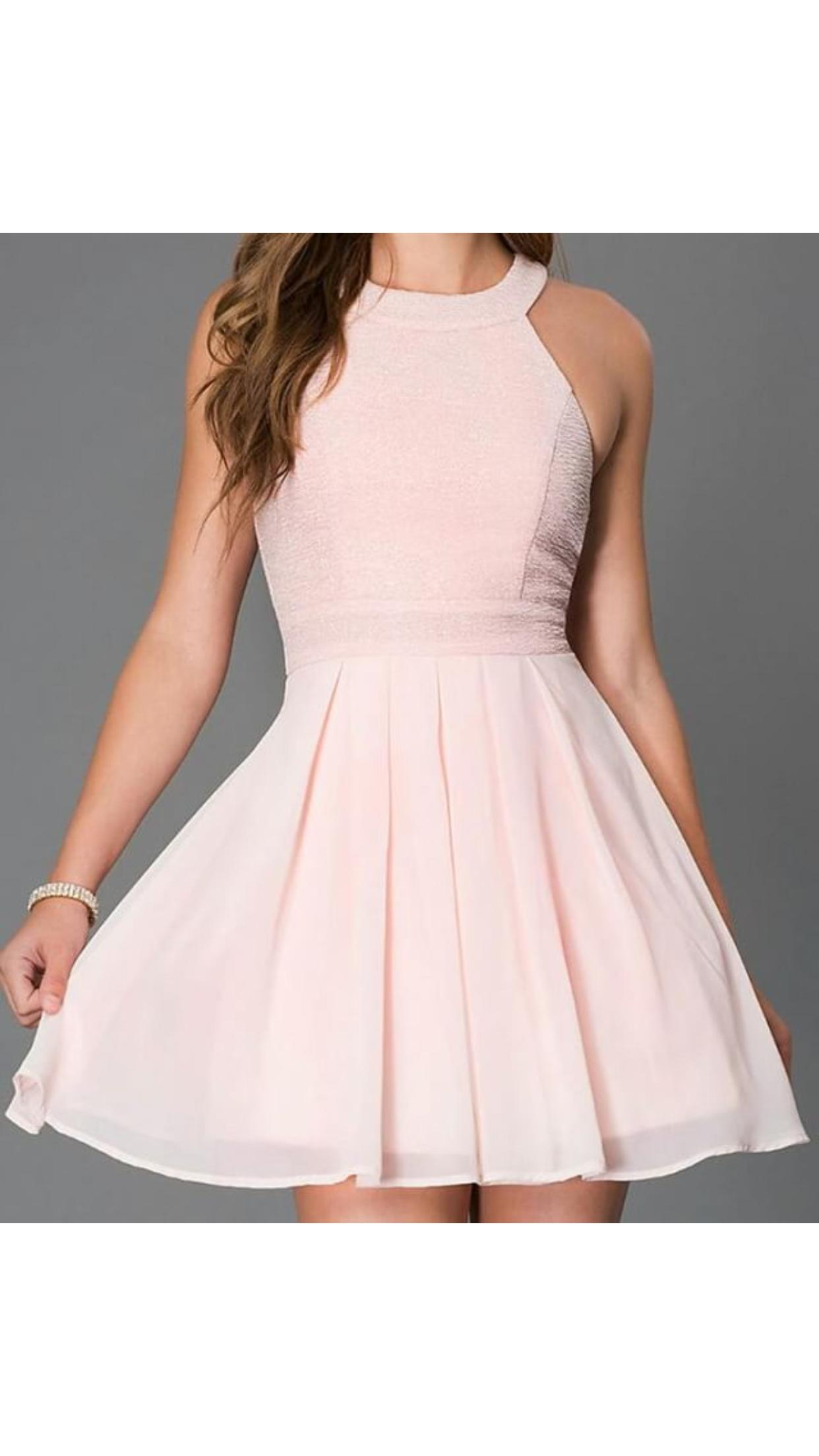 Vestido Corto Elegante Sencillo Rosa Pastel En 2019