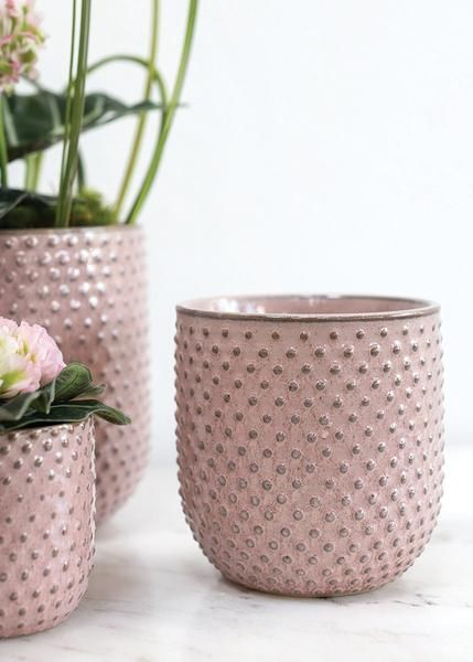 Pink Hobnail Ceramic Everly Flower Pot 4 Flower Pots Ceramic Flower Pots Floral Container