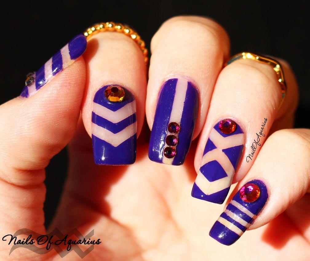 Purple Negative Space Nail Art for Geometric #NAILlinkup | Pinterest ...