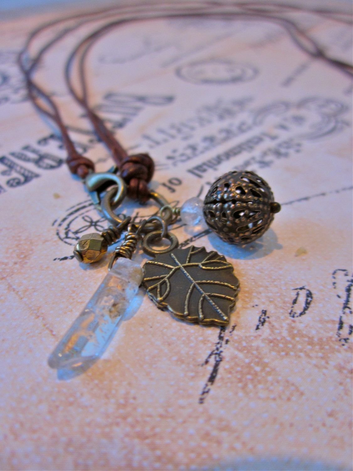 Dual length leather charm necklace antiqued brass by SimplyMim on Etsy