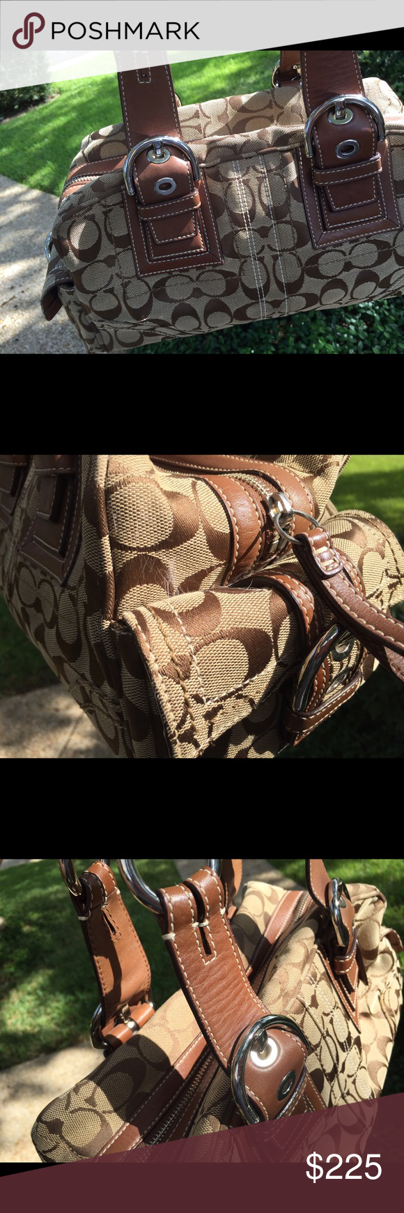 COACH Signature Satchel Handbag Canvas x Leather COACH Signature Satchel Handbag Canvas x Leather K0673-10078 MINT condition – never used & hard to find!  Color / Material  Khaki x Brown / Canvas x Leather  Size [inch] *W:11.81in x H:6.3in x D:6.3in *Handle:19.68in ~ 21.65in (2holes both sides)  Size [cm] *W:30cm x H:16cm x D:16cm *Handle:50cm ~ 55cm (2holes both sides)  Weight Approx. 920 g  * Zipper Closure  Pocket (inside) *1 Zipper pocket *2 Pockets *1 D Ring (outside) *2 Magnet button pockets *1 Brand name tag  Product Code 10078 Coach Bags Shoulder Bags
