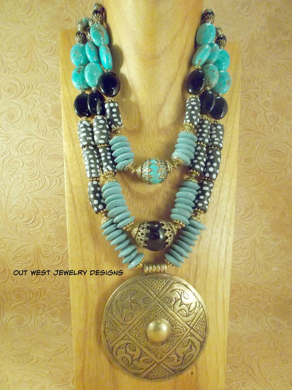 3-set boho ethno tribal necklace jewelry antique vintage turquoise