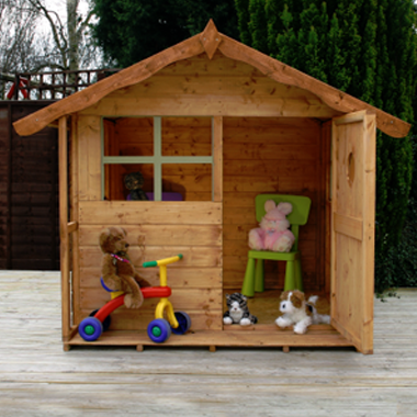 Simple playhouse with small porch playhouse ideas for Simple outdoor playhouse plans