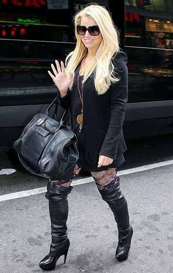 04aa4c0874 Jessica Simpson stomps around Manhattan in over-the-knee boots.