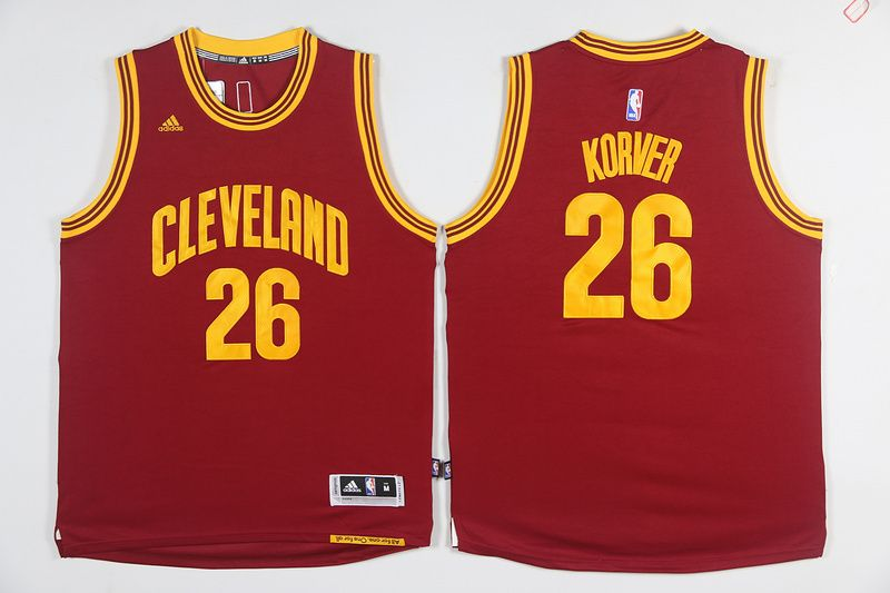 Cleveland Cavaliers  26 Korver Red Men 2017 New Logo NBA Adidas Jersey 06f6a98db