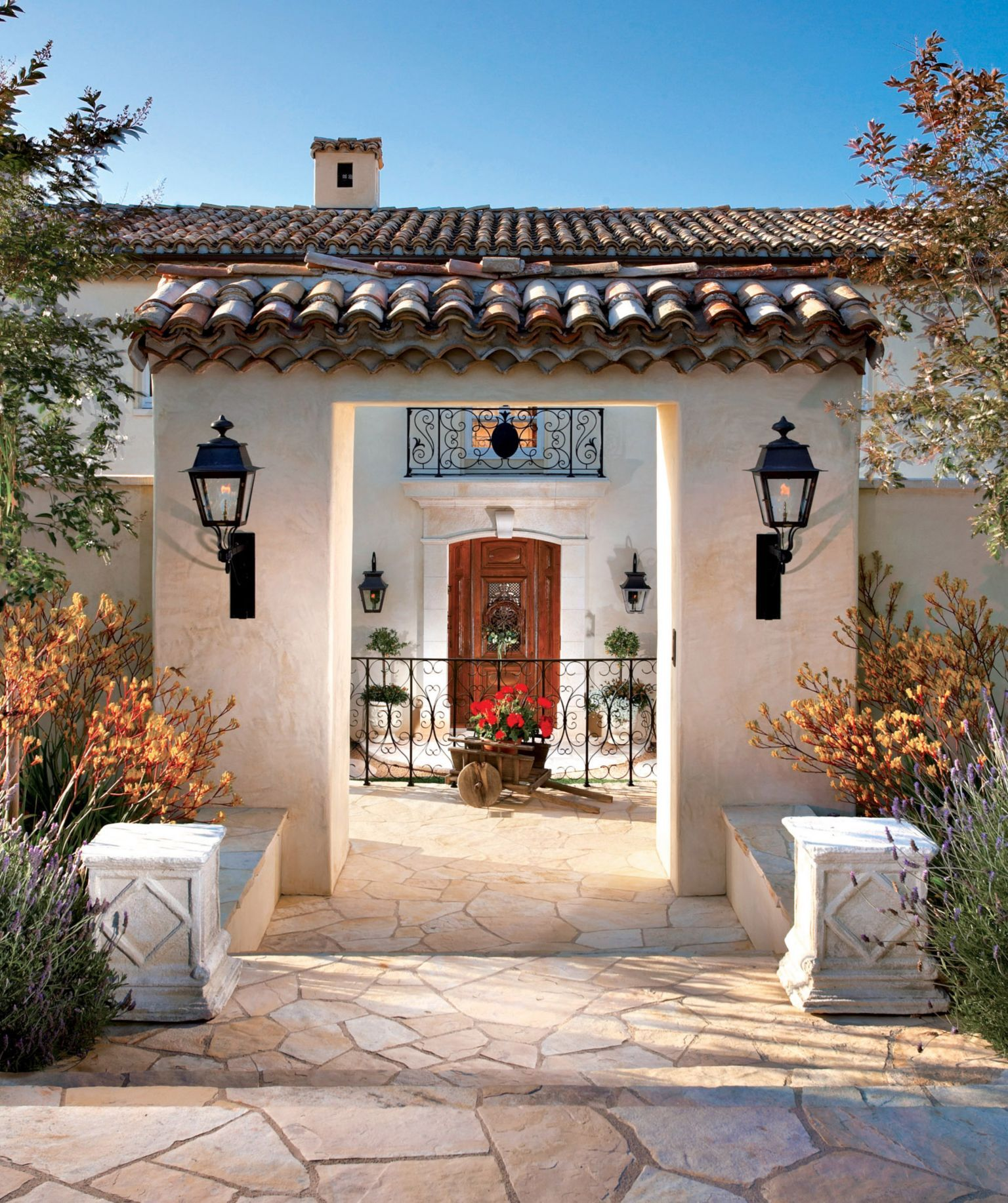 Spanish Style Homes With Courtyards: Traditional Neutral Stone And Stucco Front