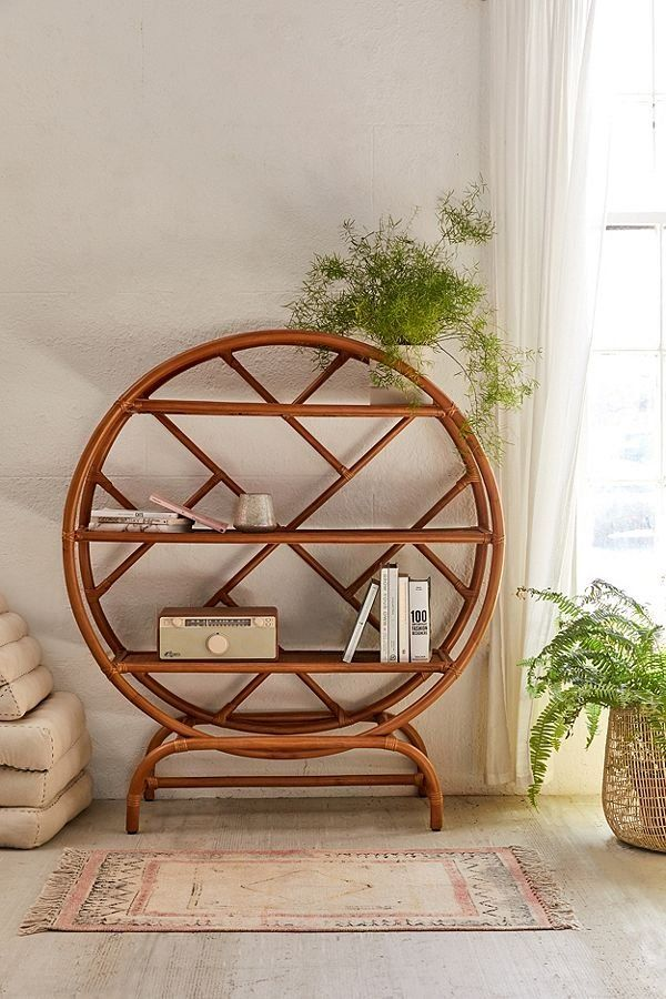 Wren Rattan Bookshelf Retro Home Decor Natural Home Decor