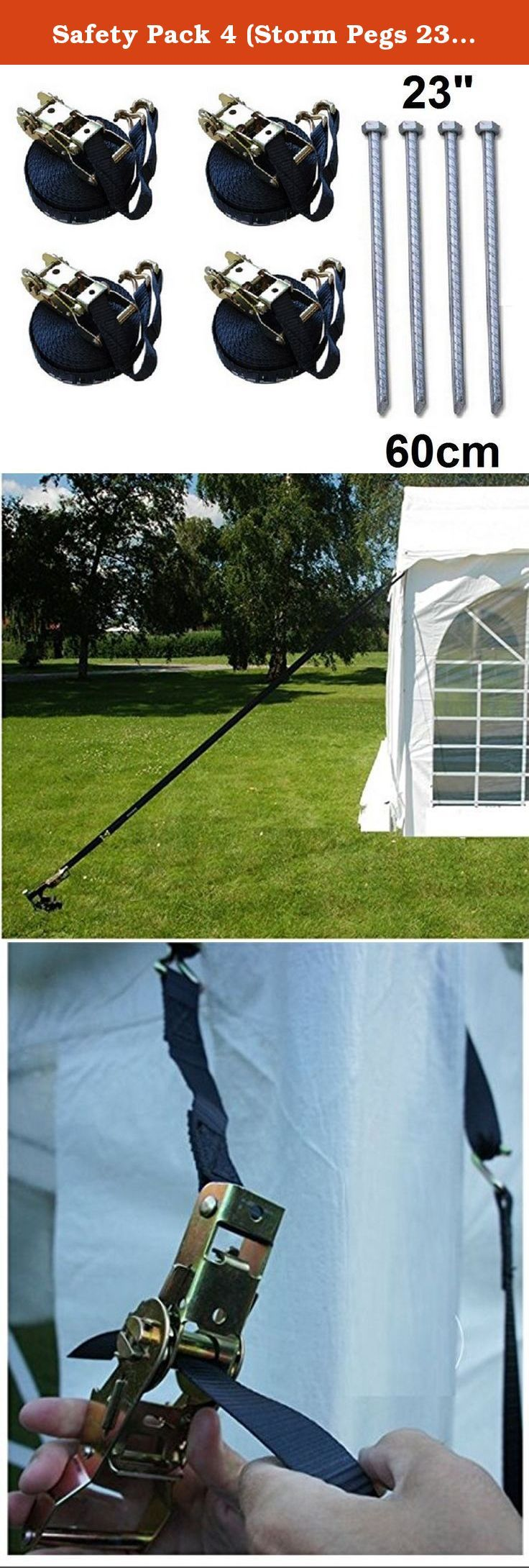 Safety Pack 4 (Storm Pegs 23  u0026 Storm Straps) for Party Tent Gazebo : tent straps - memphite.com