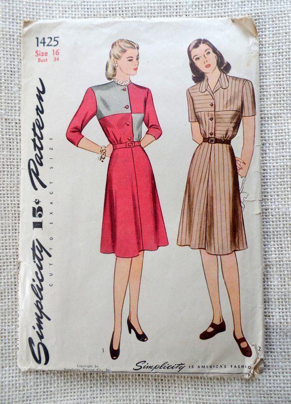 Vintage 1940s Color Block Swag Dress: Vintage Pattern Simplicity 1425 1940s Shirtwaist Dress
