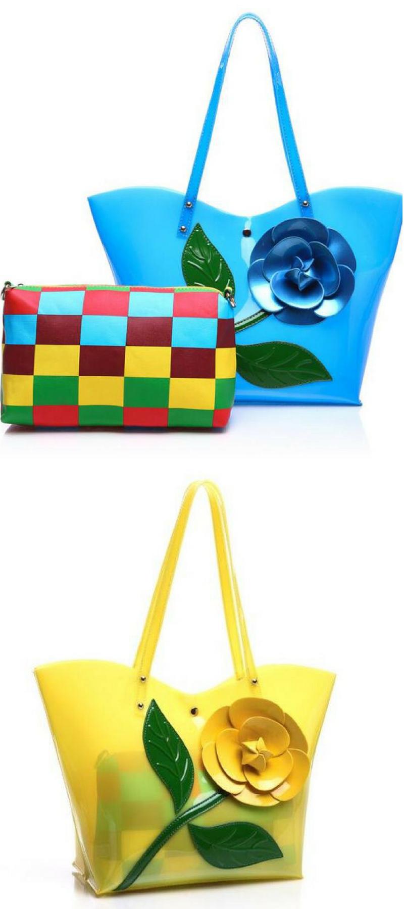 b3ffdac006c New 2018 Women Shoulder Bag Set High Quality PVC Handbags Luxury Flower  Beach Bag Famous Designer