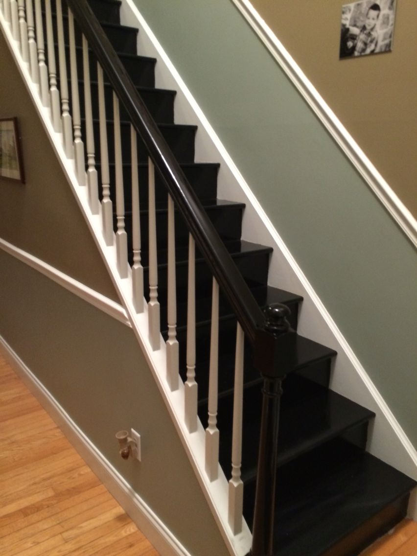 All Black Stair Treads And Risers, With Black Banister