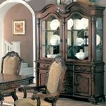 Saint Charles Deep Brown Wood Finish Buffet and Hutch with Two Glass Doors - A.M.B. Furniture & Design