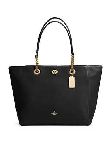 COACH COACH Turnlock Pebbled Leather Chain Tote. #coach #bags #leather #hand bags #tote #lining #