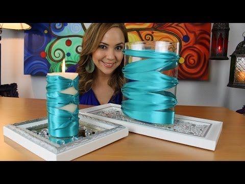 Elegantes centros de mesa con liston elegant center piece with ribbon proyecto uno - Cuanto cuesta cristal para mesa ...