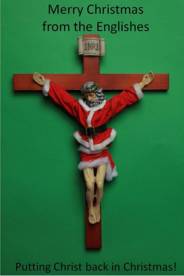 Leave it to Ron English (featured) to have an irreverent take on the holiday season. He has taken the familiar symbol of the the Christian faith, the crucifix, and melded it with the more secular representation of Christmas – Santa Claus.