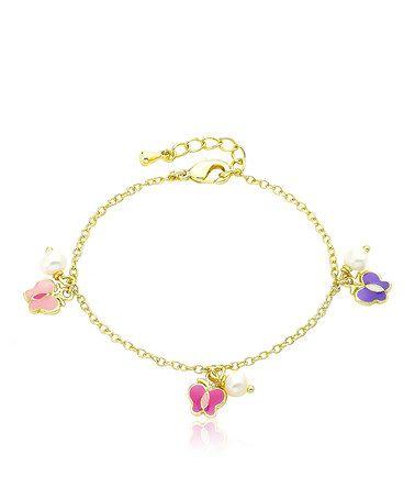 Another great find on #zulily! Purple & Gold Butterfly Charm Bracelet #zulilyfinds