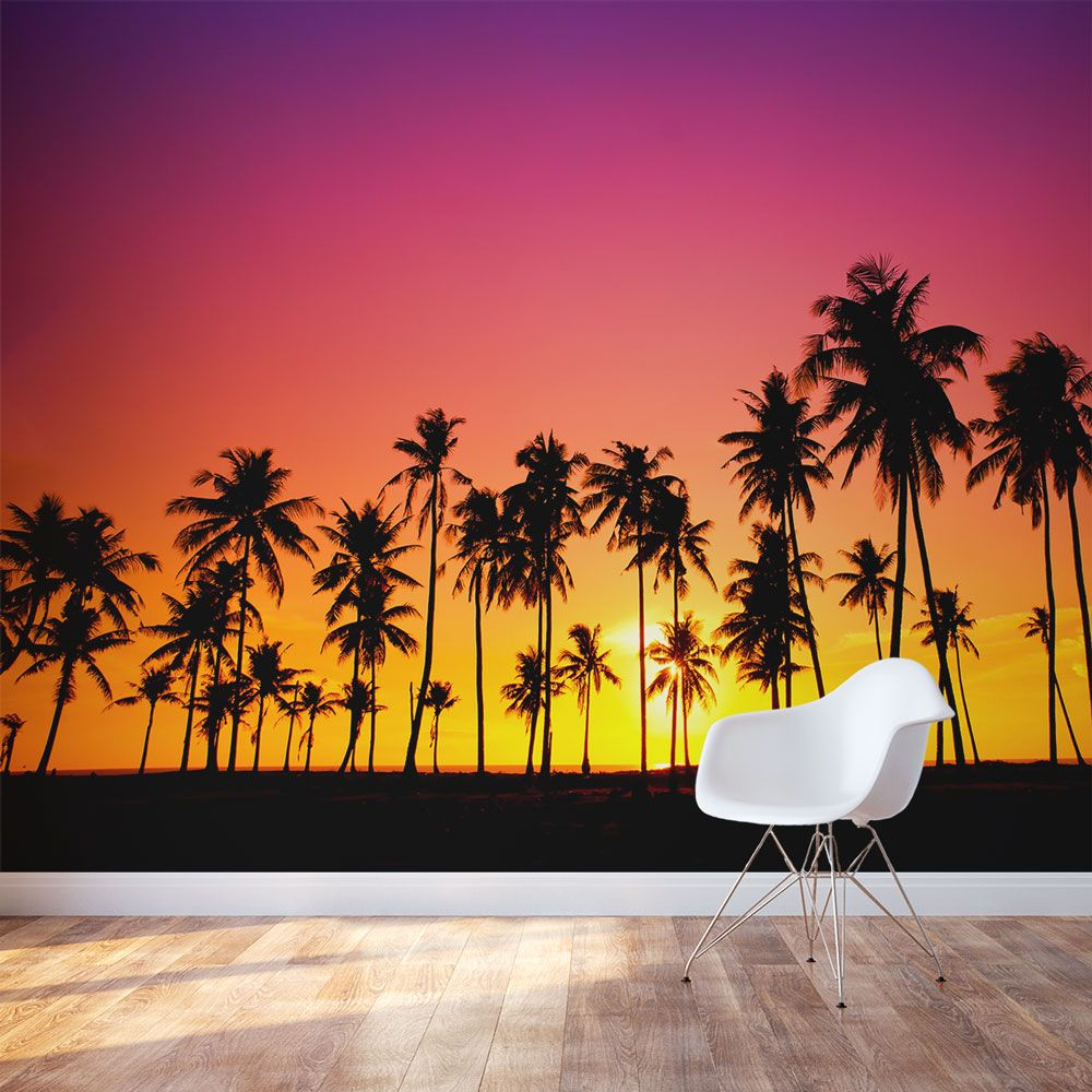 Palm Tree Sunset Wall Decal Palm Tree Mural Wallpaper