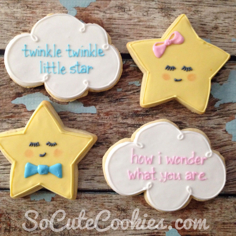 So Cute Cookies Twinkle Twinkle Little Star Gender Reveal Cookies Baby Shower Cookies Baby Reveal Party